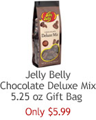 Chocolate Deluxe Mix from Jelly Belly Candy Company! Eight different confections covered in creamy milk and dark chocolate!