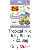 Jelly Belly Tropical Mix jelly beans in a 7 oz bag. 15 flavors. Perfect present for candy lovers and lovers of tropical fruit flavor. Convenient size bag!