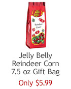 Jelly Belly Reindeer Corn Gift Bag. Classic candy corn in Christmas colors of red, white and green. Great holiday stocking stuffer!
