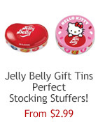Jelly Belly Bean Tin with 9.5 oz of 49 assorted flavor jelly beans. The large bean-shaped container can be refilled with other candy!